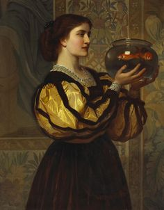 'The goldfish bowl' attributed to Charles Edward Perugini. [Italian-born English painter of the Victorian era, 1839 – 1918] and was  Son-in-law to Charles Dickens.