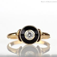 RESERVED for G Art Deco Engagement Ring - 1920s Diamond Onyx 14k Gold Halo Solitaire, Antique Engagement Ring, Antique Ring, Antique Diamond