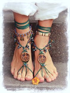 Tribal TREE BAREFOOT SANDALS Forest Fairy artisan sandals Tree hugger foot jewelry Bohemian Shoes Tribal Wedding Yggdrasil Naturalist via Etsy