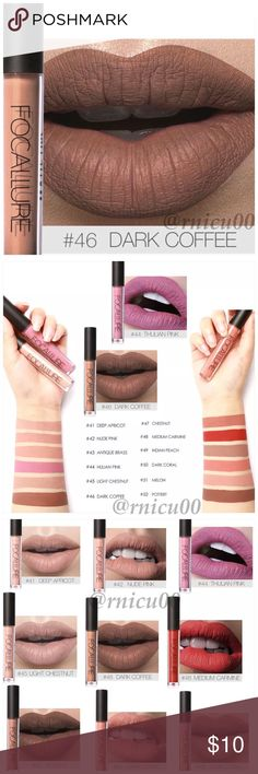 """🆕Fall Neutral! Dark Coffee Brown Matte Lipstick! A Long-wearing, liquid Lipstick that dries Matte with an intense color payoff! Lightweight formula infused with antioxidants & an exclusive complex to help maintain the lips hydration. One thin coat has Amazing transfer-free staying power! (shopfocallure.com)  ✔️Popular 5⭐️ Product, Sealed in Box ✔️""""Dark Coffee"""" ✔️Cruelty Free, NO Parabens or Phthalates ✔️Pic's obtained Online   *NO TRADES *Prices are FIRM-Listed at Lowest Price Unless…"""