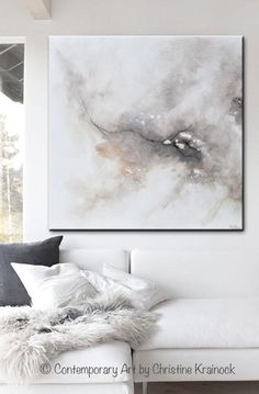 GICLEE PRINT Art Abstract Grey White Painting Coastal CANVAS PRINTS Modern Neutral Wall Art - Christine Krainock Art - Contemporary Art by Christine - 1