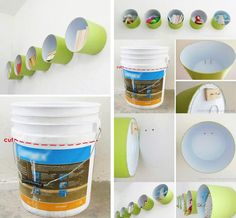 5 gallon bucket hack -upcycle -wall decor -reuse -shelf -diy storage via Married and In Love: Ideas Quirky Home Decor, Diy Home Decor, Room Decor, Wall Decor, Diy Kids Room, Recycling, Small Space Interior Design, Diy Casa, Pvc Tube
