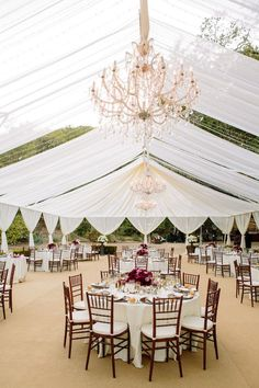 Tented reception inspiration...use string lights and lanterns instead of the chandeliers