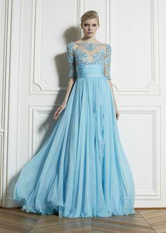 dress zuhairmuraddress designer lace prom dress evening dress long light blue chiffon half sleeve