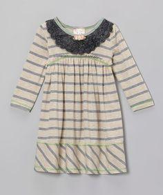 Oatmeal & Gray Stripe Lace Dress - Girls by Pink Vanilla on #zulily #ad