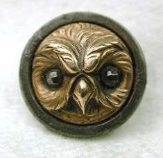 Antique Button Brass Owl Face with Cut Steel Eyes on Steel Disc | eBay