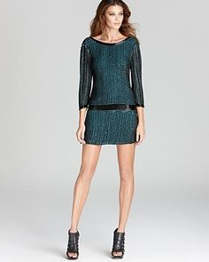 Parker Green Sequin Dress Open Back Stripe