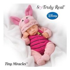 Tiny Miracles Sweet Dreams Piglet Baby Doll: So Truly Real: by The Ashton-Drake Galleries Cute Baby Halloween Costumes, Baby First Halloween, Toddler Costumes, Girl Halloween, Toddler Halloween, Halloween Parties, Family Costumes, Baby Piglets, Onesie Costumes