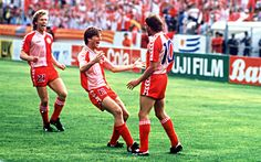 Denmark celebrate a goal at the 1986 World Cup in Mexico - The 15 best retro football shirts which need to make a comeback