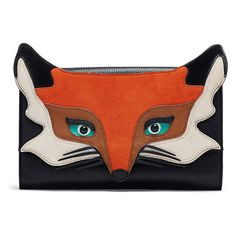 Rental kate spade new york accessories Blaze a Trail Fox Clutch ($45) ❤ liked on Polyvore featuring bags, handbags, clutches, leather flap purse, black leather clutches, black leather purse, 100 leather handbags and leather flap handbag