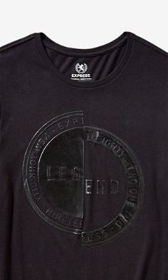 black legend stamp drop hem graphic tee from EXPRESS