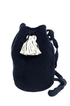 B&W Crocheted Bucket Bag