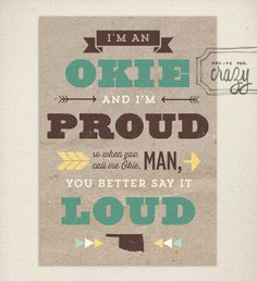 I'm an Okie and Proud Postcard by recipeforcrazy on Etsy