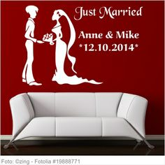 Wandtattoo Hochzeit - Just Married mit Brautpaar