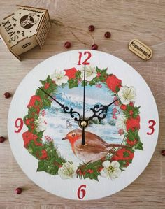 It is never too early to get Christmas decoration for your home. With this lovely wall clock you can have a uniquely decorated home. My Etsy Shop, Christmas Gifts, Clock, Unique Jewelry, Handmade Gifts, Wall, Home Decor, Xmas Gifts, Watch