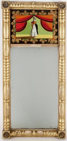 Sheraton / Federal giltwood mirror, ca. with an eglomise panel of a woman flanked by curtains in a turned giltwood frame, x
