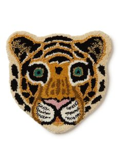 Doing Goods Cloudy Tiger Head voetenkleed 32 x 30 cm Beaded Embroidery, Cross Stitch Embroidery, Hand Embroidery, Scandinavian Kids Rooms, Punch Needle Patterns, Tiger Head, Hole Punch, Punch Punch, Beaded Brooch