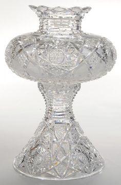 Brilliant Period Cut Glass Flower Center with Pedestal - Current price: $1100
