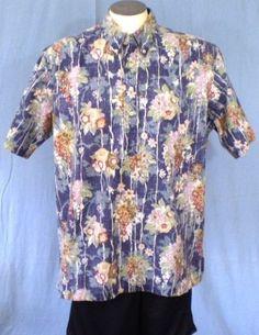 Reyn Spooner Blue XL Half Button Reverse Print Hawaiian Shirt Floral Grapes Cott #ReynSpooner #Hawaiian