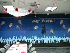 For our Mary Poppins' Tea Party, the Children's department dressed up the Garfield room with kites and parasols hanging from the ceiling and the London skyline with Mary Poppins flying over the buildings.