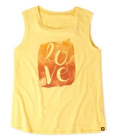This Sunny Yellow 'Love' Script Muscle Tee is perfect! #zulilyfinds