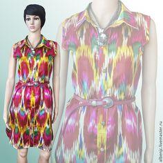 """Купить Платье """"Перья жар-птицы"""" - орнамент, платье, восток, восточный стиль, Узбекский атлас"""