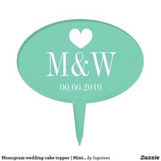 Monogram wedding cake topper | Mint green picks