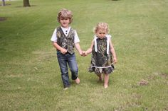 Micaela and Cam ? camo wedding, Camo girl dress, Camo boy vest, Brother sister matching outfit, Flower girl dress, MossyOak wedding, Camo wedding. $60.00, via Etsy.