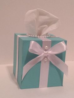 Make your desk at work or home pretty with this Beautiful Tissue and Kleenex Box cover.  Beautiful Bed and Bathroom accessory in Tiffany Blue