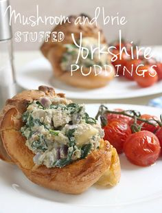 Individual Yorkshire puddings stuffed with quinoa, mushrooms and brie - perfect for a vegetarian Christmas dinner!