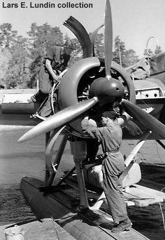 Swedish Air Force T2 Heinkel He-115 maintenance.