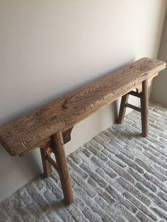 Robuust bankje - Stoer en Robuust Wonen Wabi Sabi, Dining Bench, Antiques, Nice, Stools, Furniture, Chairs, Design, Home Decor