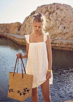 White Lace Sundress with Ruffled Straps Sézane Look Fashion, Fashion Outfits, Womens Fashion, Fall Fashion, Fashion Tips, White Lace Sundress, Eyelet Lace, Lace Dress, Spring Summer Fashion