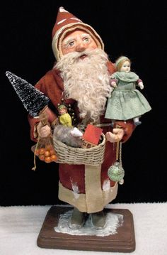 ANTIQUE~PRIMITIVE~RUSTIC~VINTAGE-Style~Santa CANDY CONTAINER~by: Jean Littlejohn