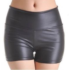 Black Stretchy Leather Look High Waist Tights Leggings Pants Hot Shorts