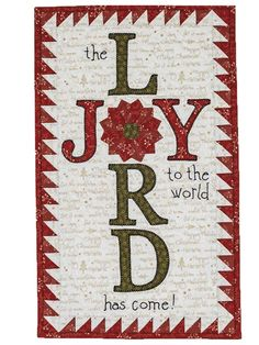 Add instant holiday cheer to your home. Pattern requires a tiny Dresden plate and fusible web applique. 12 x 21 Christmas Makes, Christmas 2019, Merry Christmas, Dresden Plate Patterns, Christmas Quilt Patterns, Joy To The World, Sewing Notions, Applique Quilts, Pattern Making
