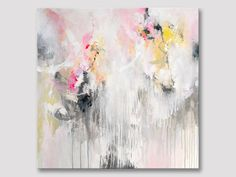 Original large abstract painting pastels bright by ARTbyKirsten
