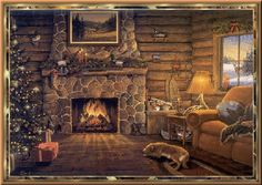 The Christmas Song-Nat King Cole with a cozy log cabin & fireplace to keep you warm Christmas Fireplace, Christmas Scenes, Cozy Christmas, Christmas Music, Christmas Images, Country Christmas, Christmas Lights, Animated Christmas Pictures, Xmas Music
