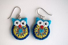 Owl earrings crochet owl earrings by MikiJensen on Etsy