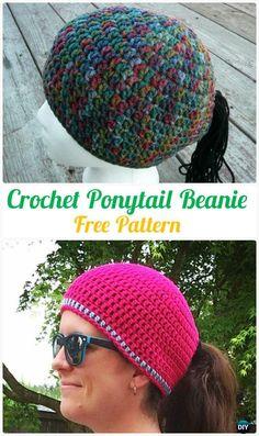 Crochet Ponytail BeanieHatFreePattern -Crochet Ponytail Messy Bun Hat Free Patterns & Instructions