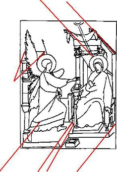 Byzantine perspective  Annunciation drawing