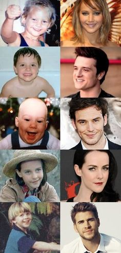 the Hunger Games: Catching Fire casts when they were babies :) puberty, ladies and gentlemen. Puberty.