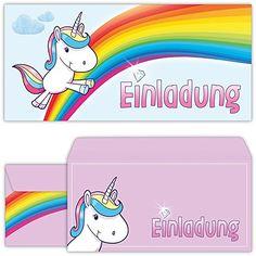 Einhorn Einladungskarten mit Umschlägen (12er Set) zum Kindergeburtstag von BeriluDesign   Unicorn Kinder Geburtstag-Einladungen Karten Feier Party Mädchen