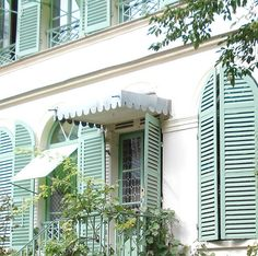 French Shutters in that gorgeous blue green we all adore~available at American Home & Garden in Ventura CA