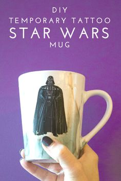 Use temporary tattoos and alcohol inks to creat a one of a kind DIY Star Wars Mug. A fun and easy DIY for the coffee or tea loving Star Wars fan! Easy Craft Projects, Craft Tutorials, Geek Crafts, Diy Crafts, Project Ideas, Paper Crafts, Diy Tattoo, Pandora Charms, Diy Star
