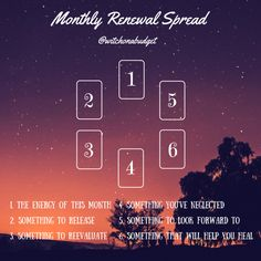 Monthly Renewal Tarot Spread by WitchOnABudget