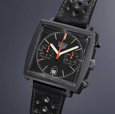 """The Monaco reference 74033N, a.k.a. the """"Dark Lord"""", with black PVD-coated steel case (1974), from the """"History of the TAG Heuer Monaco"""" 