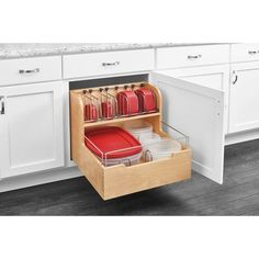 Create efficient kitchen storage by choosing this excellent Rev-A-Shelf Wood Food Storage Container Organizer for Base Cabinets. Container Organization, Kitchen Cabinet Organization, New Kitchen Cabinets, Built In Cabinets, Base Cabinets, Food Storage Containers, Kitchen Storage, Cabinet Organizers, Cabinet Ideas