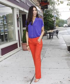 Setting Sail - The Style Contour| how to color block, Gucci 2011 collection, purple and orange outfit idea, sailor pants, how to style sailor pants, pants for wider hips, pants for curvy women, orange linen pants, summer work outfit ideas, s