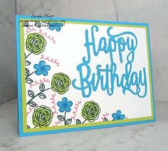 This is a fun card I made using a stamp set from the Stampin' Up! The set is called Happy Birthday Gorgeous. The Happy Birthday Thinlits die goes with this set and… Handmade Birthday Cards, Happy Birthday Cards, Handmade Cards, Class Birthdays, Cool Cards, Easy Cards, Happy Birthday Gorgeous, Card Templates Printable, Pumpkin Cards
